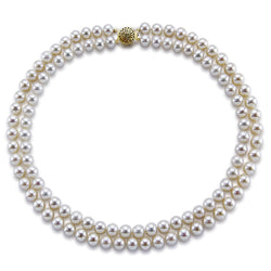 14k Gold Double Strand 8.0-9.0mm White Freshwater Cultured Pearl Necklace AAA Quality 17 Inches