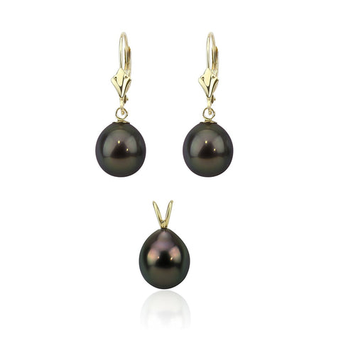 14K Yellow Gold 9.0-10.0 mm Pear Black Tahitian Cultured Pearl Pendant, Lever Back Earring Sets-02