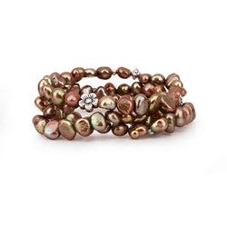 "Genuine Freshwater Cultured Pearl 7-8mm Stretch Bracelets with base-metal-beads (Set of 3) 7.5"" (Brown)"