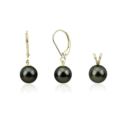 14K Yellow Gold 9.0-10.0mm AAA Round Black Tahitian Cultured Pearl Pendant, Lever Back Earring Sets-03