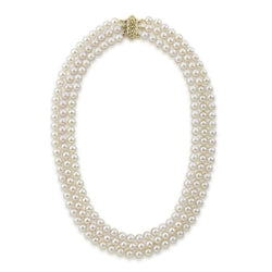14k Yellow Gold Triple Strand White Saltwater Akoya Cultured Pearl Necklace AAA Quality (6-6.5mm), 20""