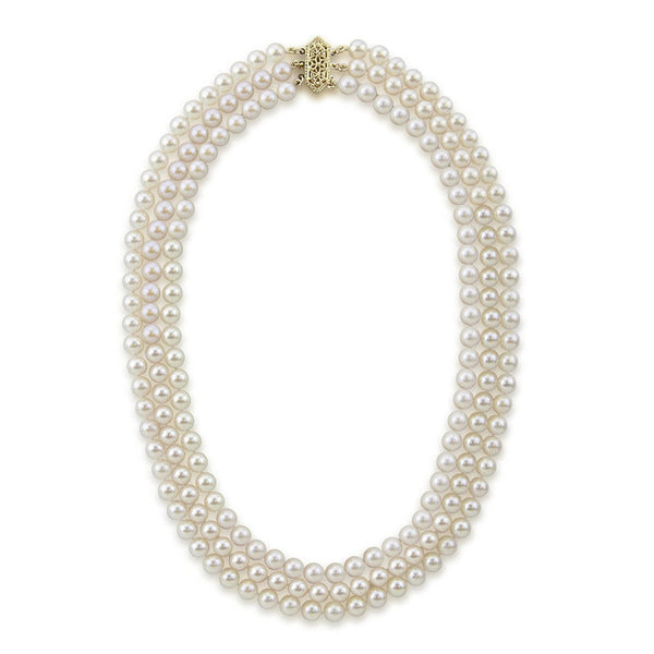 14k Yellow Gold Triple Strand White Saltwater Akoya Cultured Pearl Necklace AAA Quality (6-6.5mm), 18""