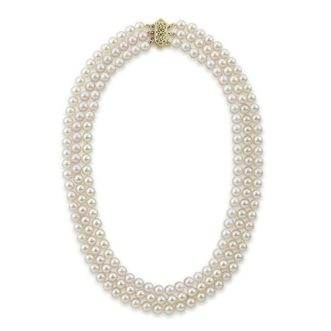 14k Yellow Gold Triple Strand White Saltwater Akoya Cultured Pearl Necklace AAA Quality (6-6.5mm), 17""