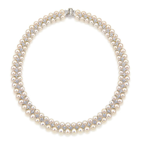 Aristocratic High Luster White Freshwater Cultured Pearl Necklace 6.5-8.0mm, 18""
