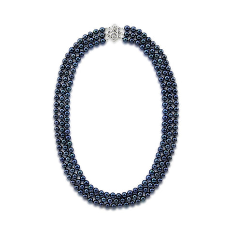 14k White Gold Triple Strand Black Saltwater Akoya Cultured Pearl Necklace AAA Quality (5.5-6.0 mm), 17""