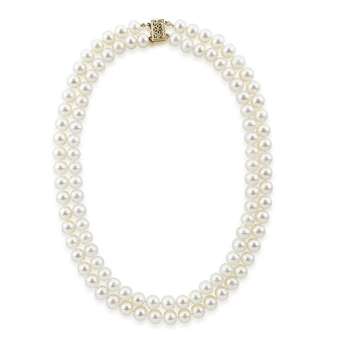 14k Gold Double Strand 6.0-6.5mm Saltwater Akoya Cultured Pearl Necklace AAA Quality 18 Inches