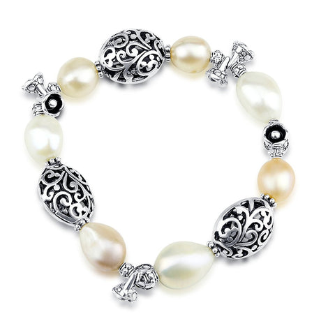 Freshwater Cultured Pearl Stretch Bracelet with Bali Beads 7.5""