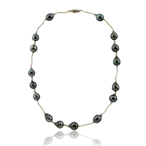 14K Yellow Gold Tahiti Cultured Pearl Necklace 22 Inches