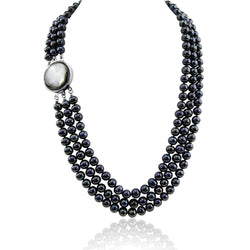 "3-row Black Freshwater Cultured Pearl Necklace with Mother of Tahiti Pearl rhodium plated base metal Clasp(6.5-7.5mm), 17.5"",18.5""/20"""