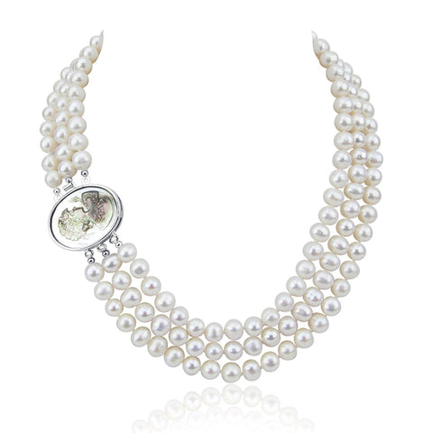 "3-row White A Grade Freshwater Cultured Pearl Necklace (7.5-8.0 mm), 16.5"", 17""/18"""