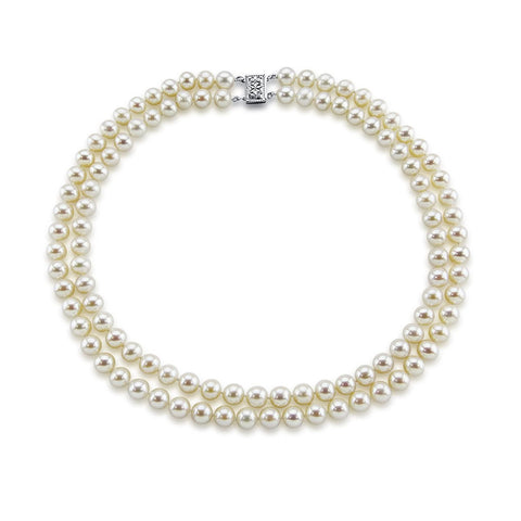 14k White Gold Double Strand 8.0-9.0mm White Freshwater Cultured Pearl Necklace AAA Quality 20 Inches