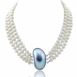 "3-row White Freshwater Cultured Pearl Necklace with Shell Clasp (6.5-7.5mm), 17"", 18""/19"""