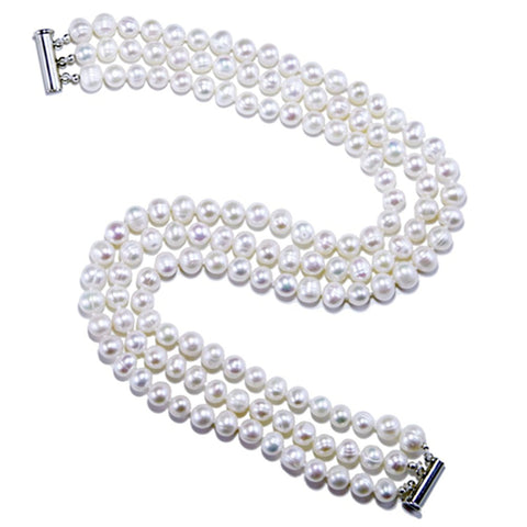 Bridal Wedding Jewelry 3-Row White Choker A Grade 6.5-7.5mm Freshwater Cultured Pearl Necklace 15""