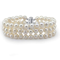 3-Row White A Grade 6.5-7mm Freshwater Cultured Pearl Bracelet with base metal Clasp, 7 Inches