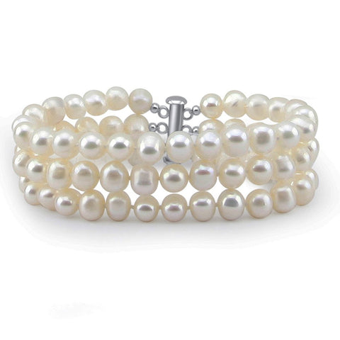 Bridal Wedding Jewelry 3-Row White A Grade 6.5-7mm Freshwater Cultured Pearl Bracelet 7.5""