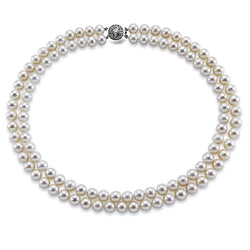 14k White Gold Double Strand 8.0-9.0mm White Freshwater Cultured Pearl Necklace AAA Quality 17 Inches