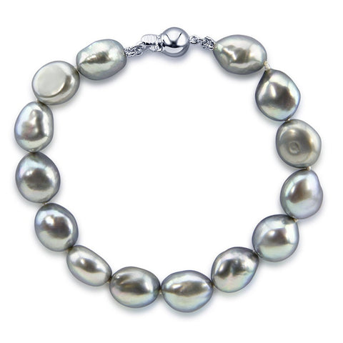 "10.0-11.0mm High Luster Grey Baroque Freshwater Cultured Pearl Bracelet 7.5"" with Sterling-Silver clasp"