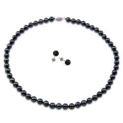 14K White Gold 7.0-7.5mm Black Akoya Cultured Pearl High Luster Necklace 18 Inches with Earring Sets