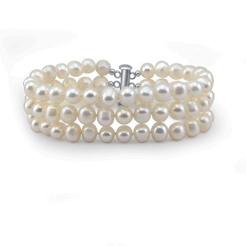 3-Row White A Grade 6.5-7mm Freshwater Cultured Pearl Bracelet 7""