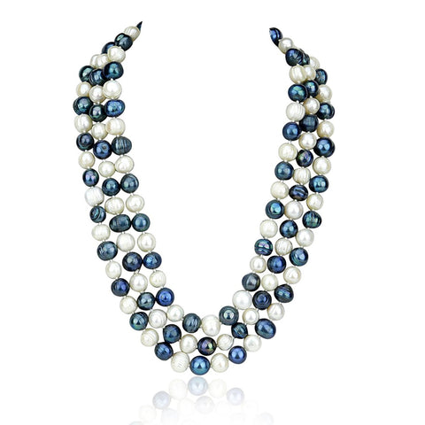 Circlé 8.0-10.0mm White and Black Cultured Freshwater Pearl Endless Necklace 56""