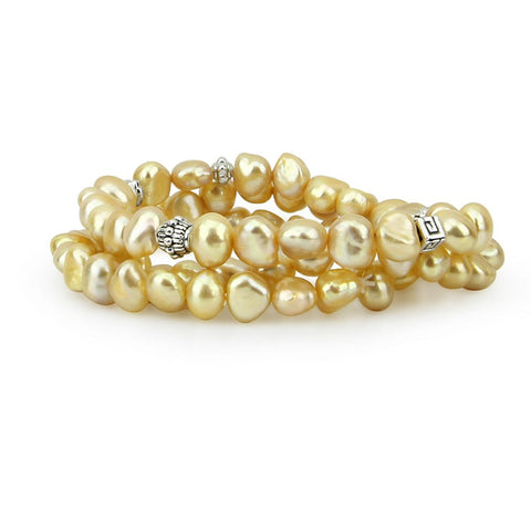 Genuine Freshwater Cultured Pearl 7.0-8.0 mm Champagne Stretch Bracelets with base beads (Set of 3) 7.5""