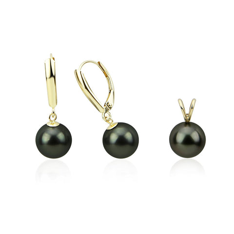14K Yellow Gold 9.0-10.0mm AAA Round Black Tahitian Cultured Pearl Pendant, Lever Back Earring Sets-01