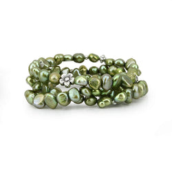 Genuine Freshwater Cultured Pearl 7-8mm Forest Green Stretch Bracelets (Set of 3) 7.5""