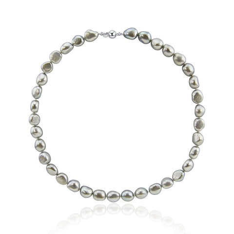 "10.0-11.0mm High Luster Grey Baroque Freshwater Cultured Pearl necklace 18"" with sterling silver clasp"