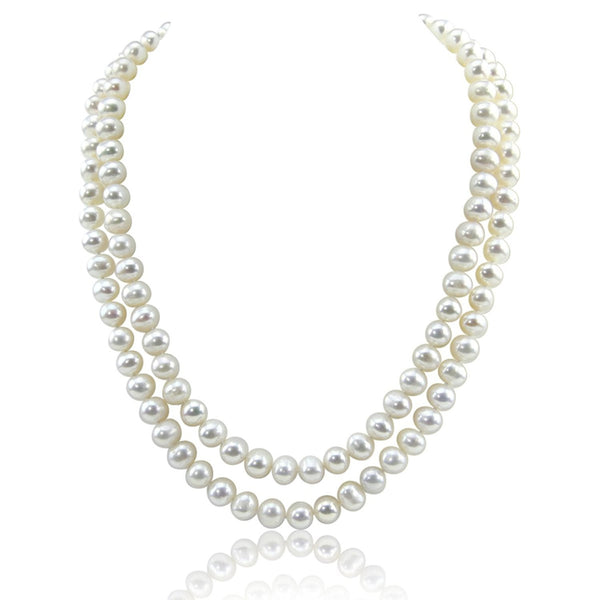 "2-row White A Grade Freshwater Cultured Pearl Necklace(9.0-10.0mm), 17"", 18.5"""