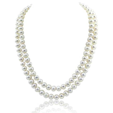 "2 Rows 7.5-8.0 mm High Luster White Freshwater Cultured Pearl Necklace 17""-18"" with Base Metal Clasp"