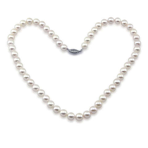 "14k White Gold 6.5-7.0mm White Akoya Cultured Pearl High Luster Necklace 18"", AAA Quality"