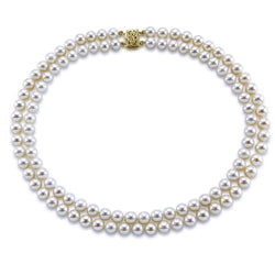 14k Yellow Gold Double Strand 8.0-9.0mm White Freshwater Cultured Pearl Necklace AAA Quality 17 Inches