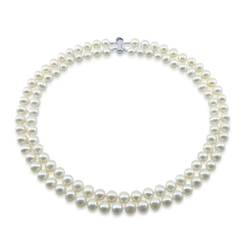 "Sterling Silver 2 Rows 8-9mm White Freshwater Cultured Pearl High Luster Necklace 17""-18"""