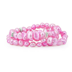 "Genuine Freshwater Cultured Pearl 7-8mm Stretch Bracelets with base-metal-beads (Set of 3) 7.5"" (Pink)"