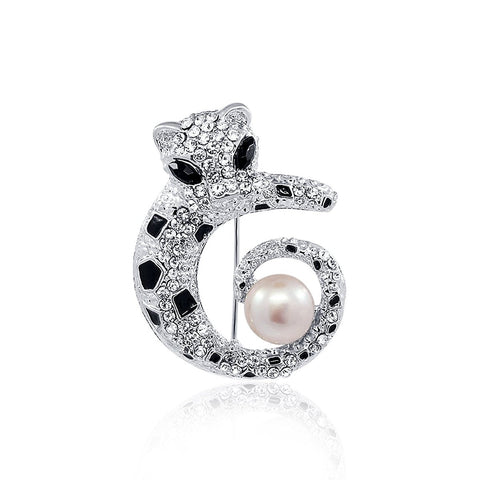PANTHÈRE White Freshwater Cultured Pearl and Rhinestones