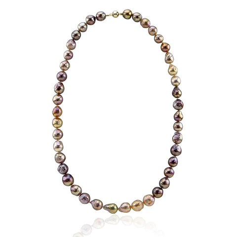 14K Yellow Gold 10.0-13.0mm Multi-color Edison Freshwater Cultured Pearl Necklace 23 Inches