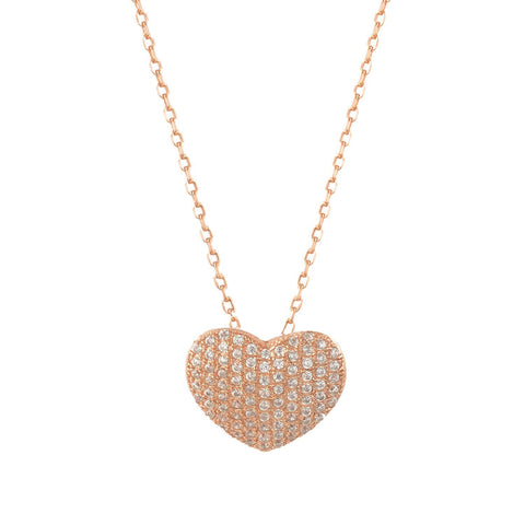 Sterling Silver Cubic Zirconia Pave Heart Necklace 18 Inches- Rose-gold-flashed Silver