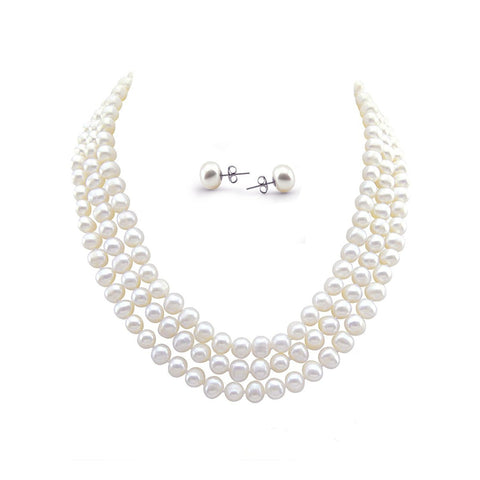 "3-row White Freshwater Cultured Pearl Necklace (6.5-7.5mm), 16.5""/17""/18"", with Earring set"