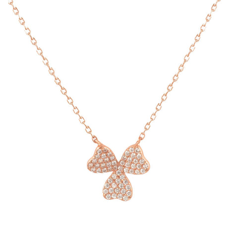 "Sterling Silver Three Leaf Clover Good Luck Pendant With 18"" Chain- Rose-gold-flashed silver"
