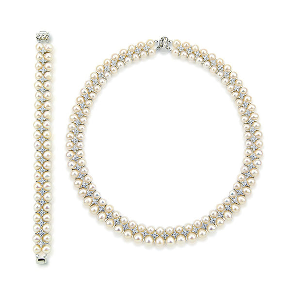 "Aristocratic High Luster White Freshwater Cultured Pearl Necklace 18"" and Bracelet Set 7.5"""