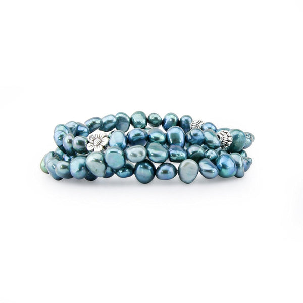 "Genuine Freshwater Cultured Pearl 7-8mm Stretch Bracelets with base-metal-beads (Set of 3) 7.5"" (blue)"