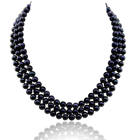 "3-row Black A Grade Freshwater Cultured Pearl Necklace (6.5-7.5mm), 16.5"", 17""/18"" with base metal clasp"