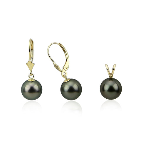 14K Yellow Gold 9.0-10.0mm AAA Round Black Tahitian Cultured Pearl Pendant, Lever Back Earring Sets-02