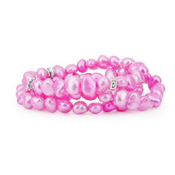"Genuine Freshwater Cultured Pearl 7-8mm Stretch Bracelets with base-metal-beads (Set of 3) 7.5"" (Dark Pink)"