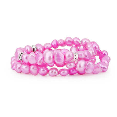 Genuine Freshwater Cultured Pearl 7-8mm Dark Pink Stretch Bracelets with base-metal-beads (Set of 3) 7.5""