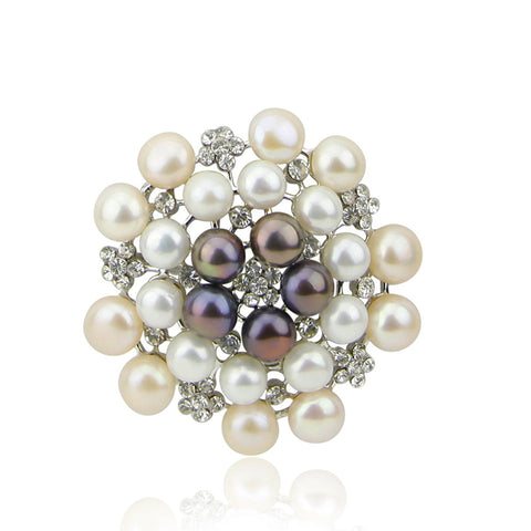 Multi Color Freshwater Cultured Pearl brooch with Rhinestones