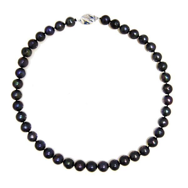 Pearlpro A Quality 10-11mm Black Freshwater Cultured Pearl Necklace, 18""