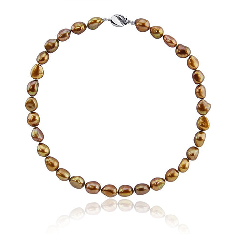 "10.0-11.0mm High Luster Brown Baroque Freshwater Cultured Pearl necklace 20"" with base metal clasp"