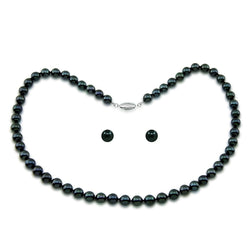 Sterling silver 7.0-7.5mm Black Akoya Cultured Pearl High Luster Necklace 18 Inches with Earring Sets
