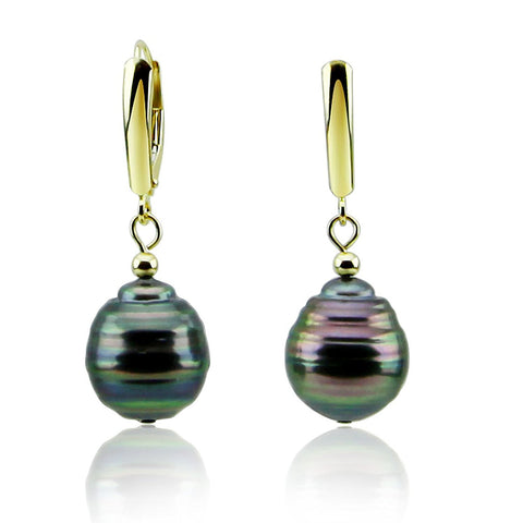 10-11mm High Luster Baroque Tahiti Cultured Pearl Lever-back Earrings